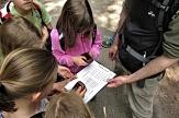 Kinder stehen um eine Karte