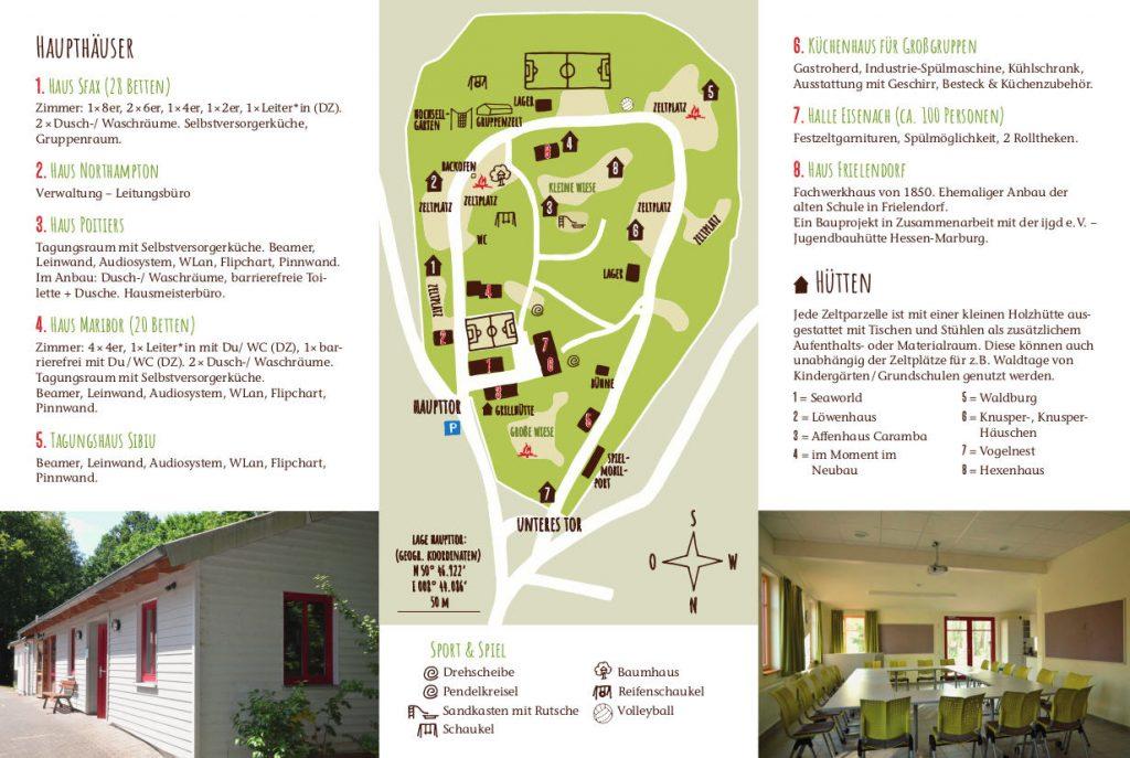 In der Mitte ein Plan des Geländes, an den Seiten die Beschreibung der Häuser und Hütten.