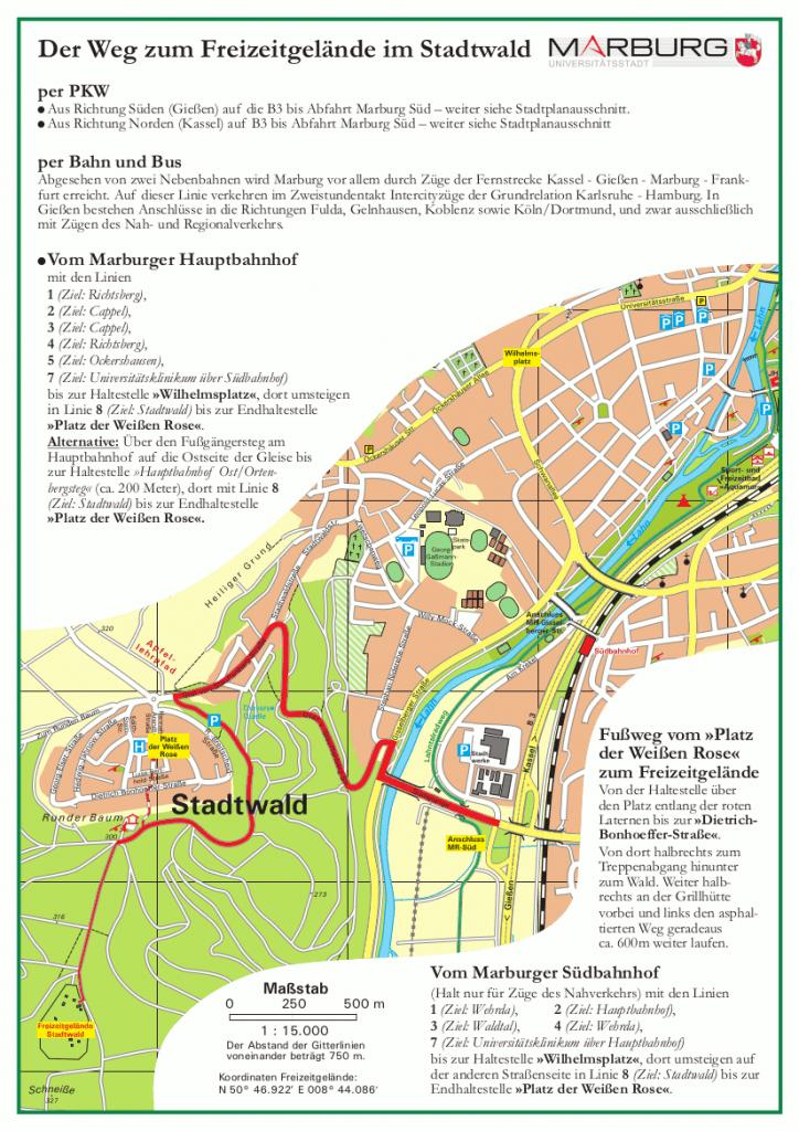 Freizeitgelände Stadtwald Anfahrt als PNG