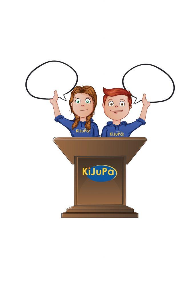Comic mit zwei Kindern, die an einem Redepult stehen