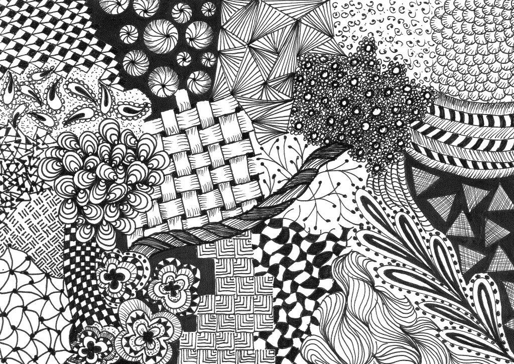 Zeichnung in schwarz-weiß mit grafischen Mustern