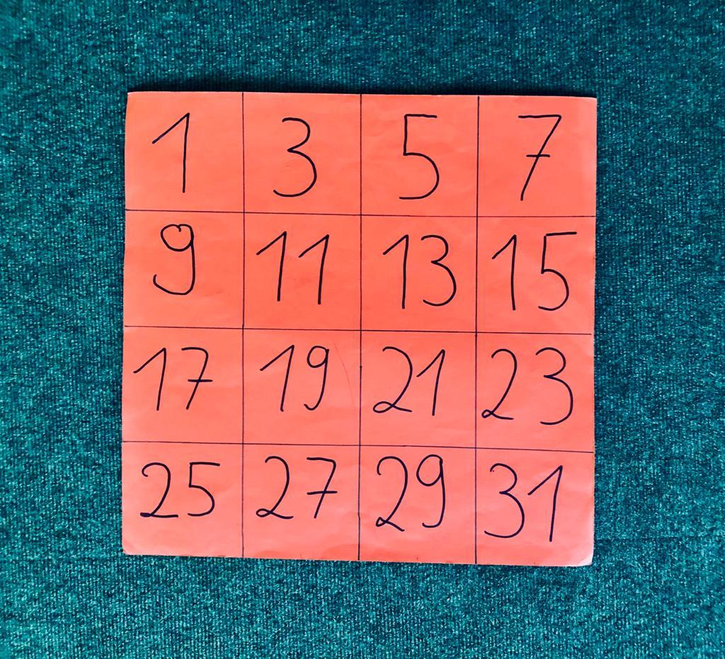 Zahlenkartekarte mit 16 Zahlen, 1 zum Start