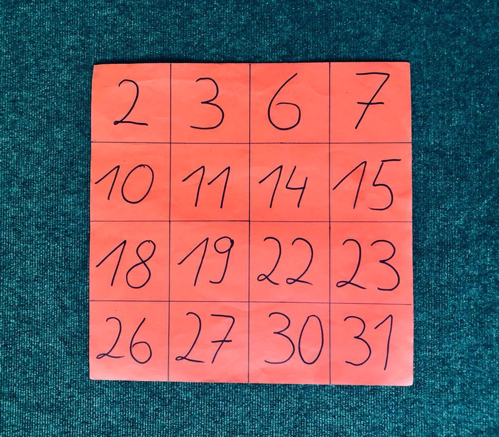 Zahlenkartekarte mit 16 Zahlen, 2 zum Start