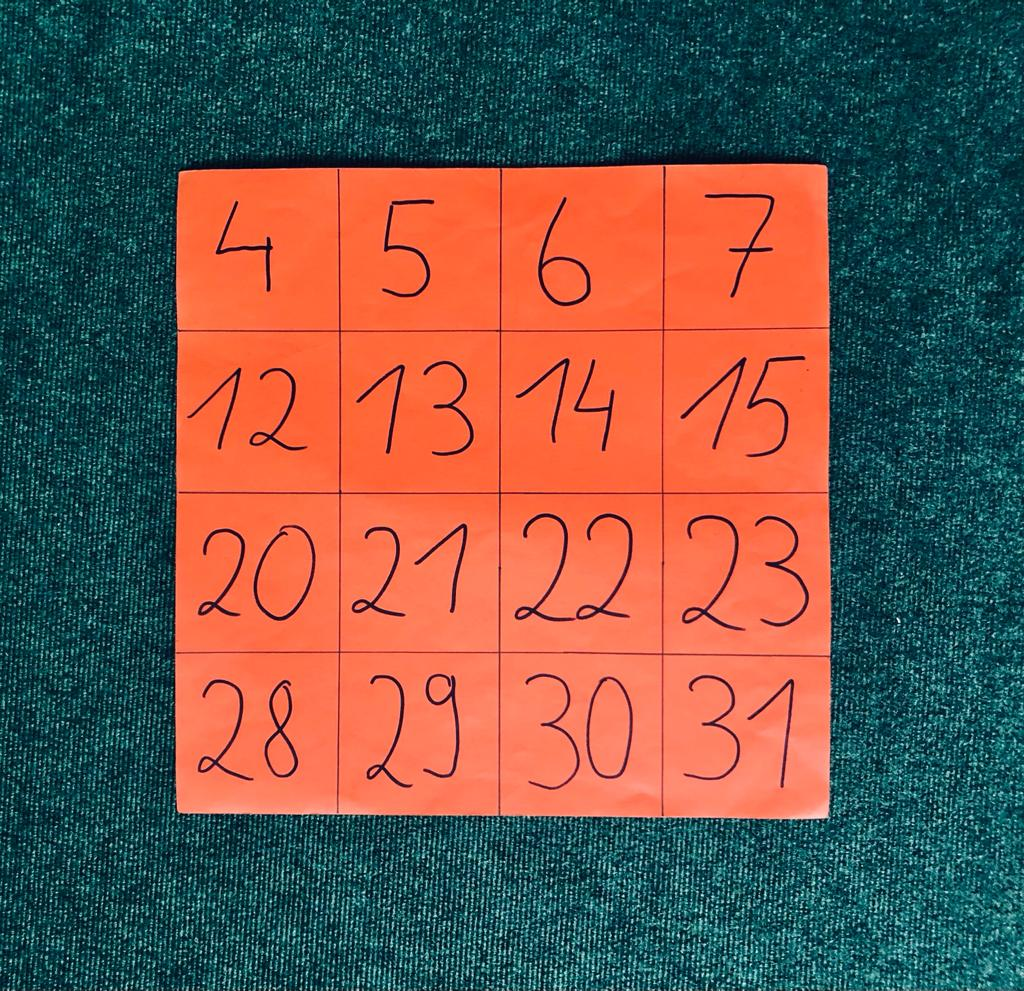 Zahlenkartekarte mit 16 Zahlen, 4 zum Start