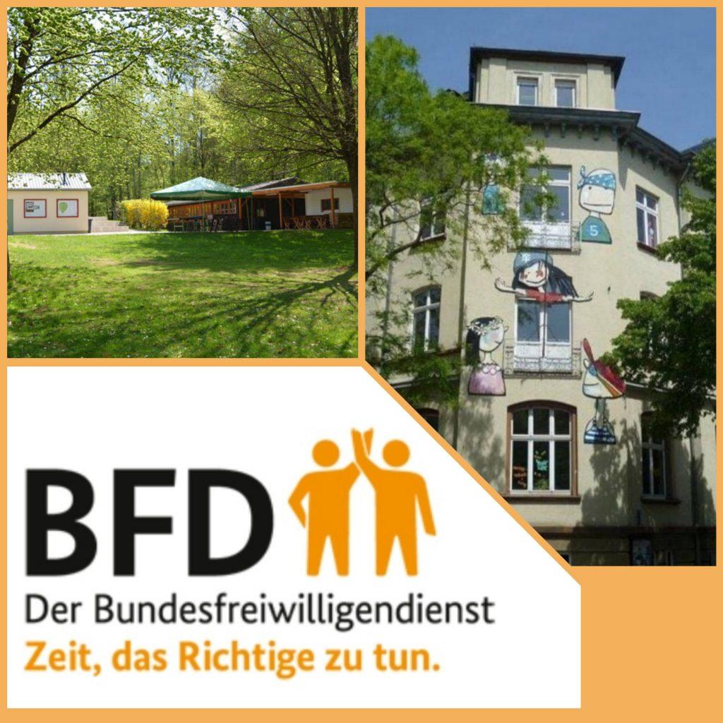 Der Schriftzug BFD Der Bundesfreiwilligendienst mit Bildern des Haus' der Jugend und des Freizeitgelände Stadtwald.