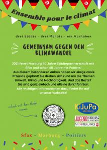 Poster zur Aktion Enseble pour le climat der Städte Sfax, Marburg und Poitiers.