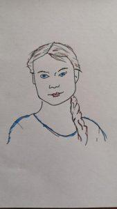 Eine Zeichnung von Greta Thunberg, nur ganz wenig Farbe, vor allem Linien.