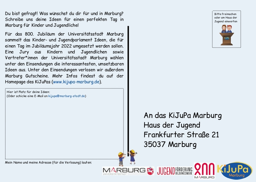 KiJuPa-Projekt Marburg 800 Postkarte Rückseite