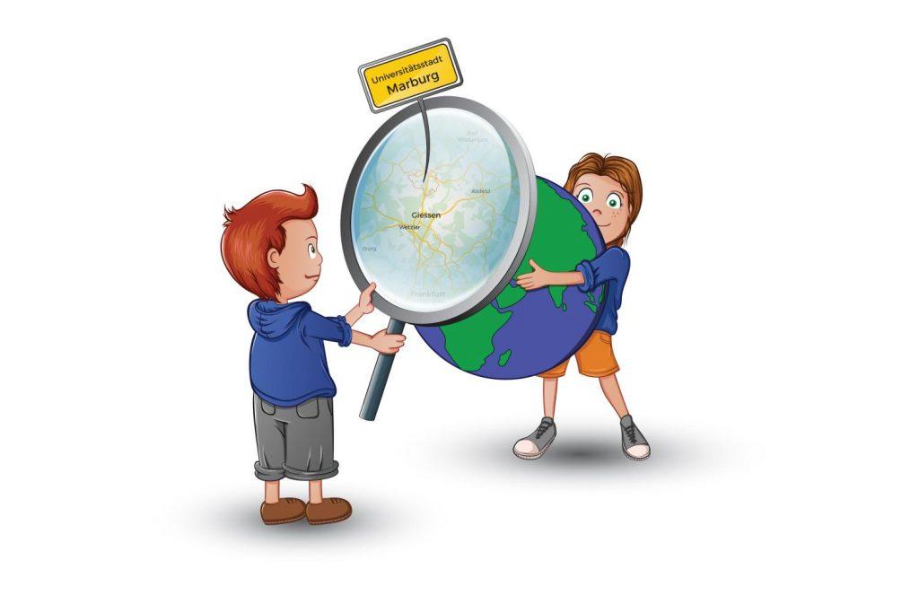 Zwei Comic-Figuren mit einer Lupe betrachten eine Weltkugel. Das KiJuPa informiert sich.