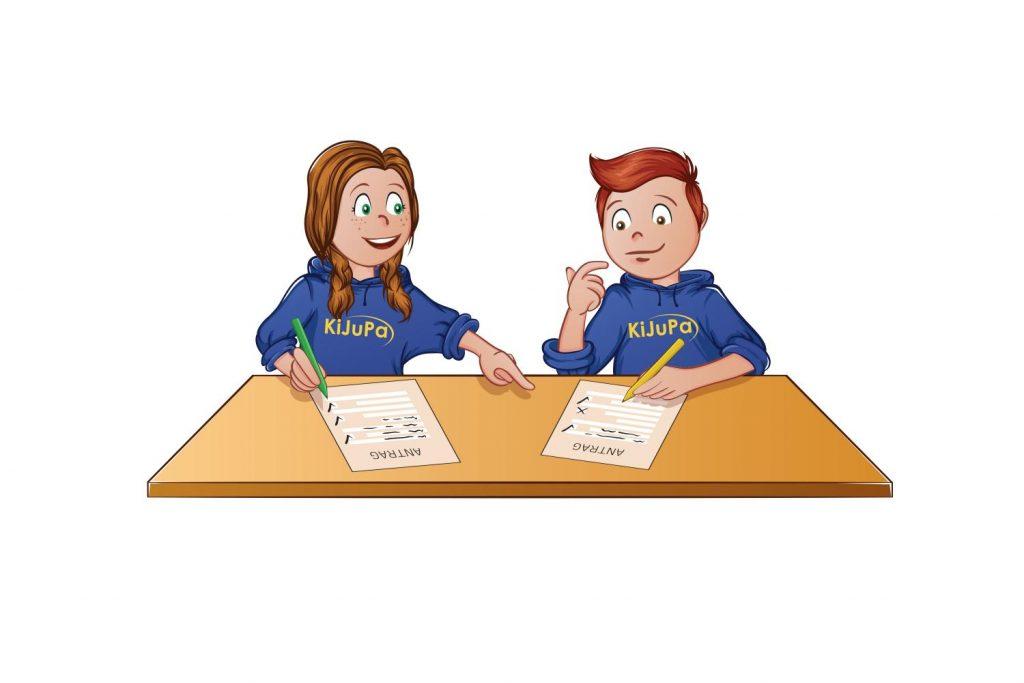 KiJuPa Figuren sitzen und arbeiten an einem Antrag