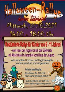 Das Plakat zur Halloween-Rallye 2021, sogar mit Kürbis!